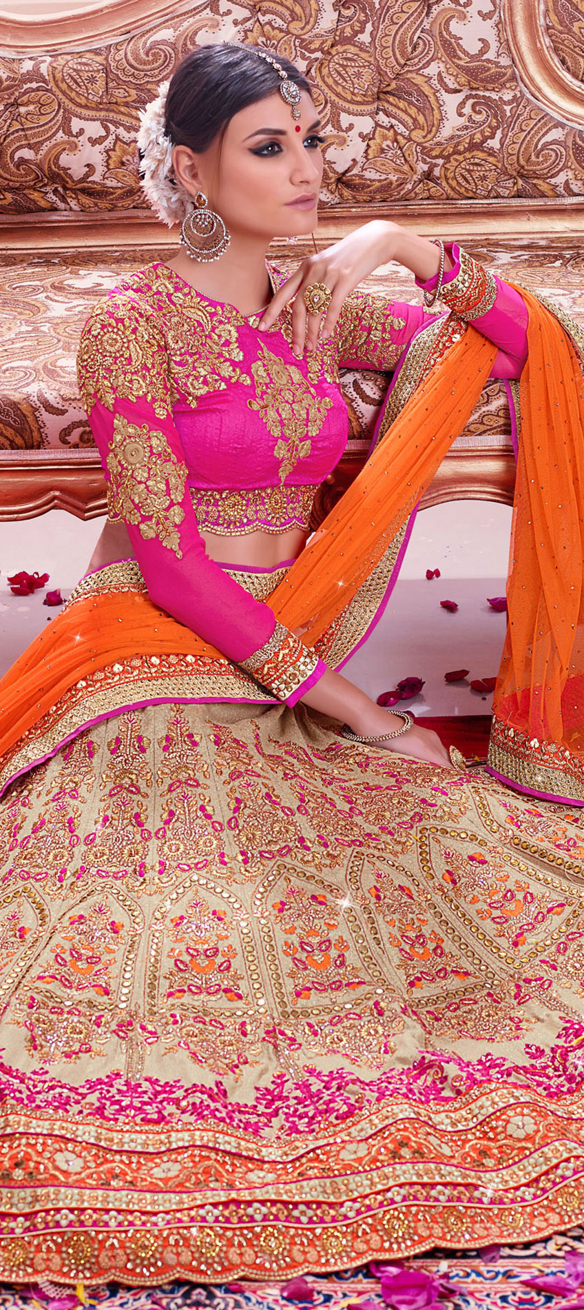 193777: Beige and Brown color family Bridal Lehenga .