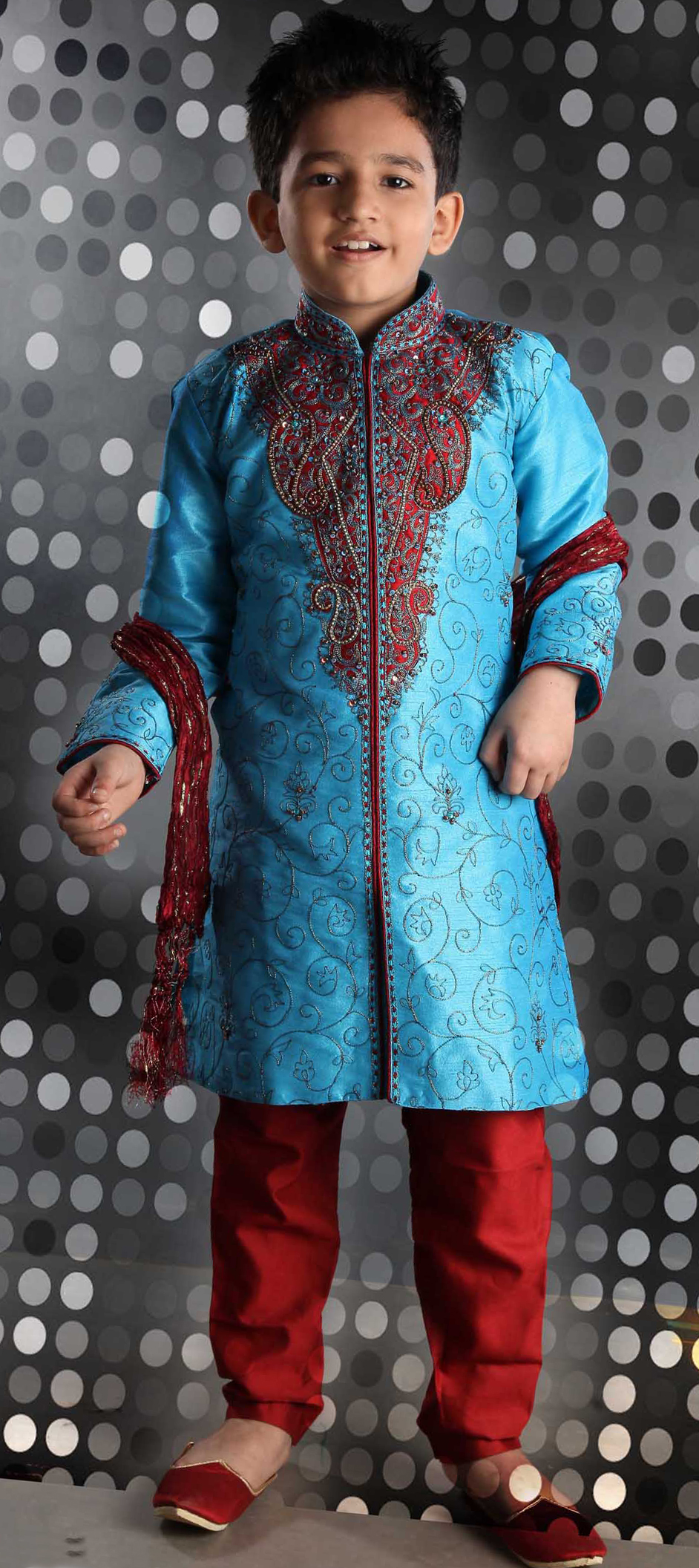 200057: Blue,Red and Maroon color family stitched Boys Sherwani .