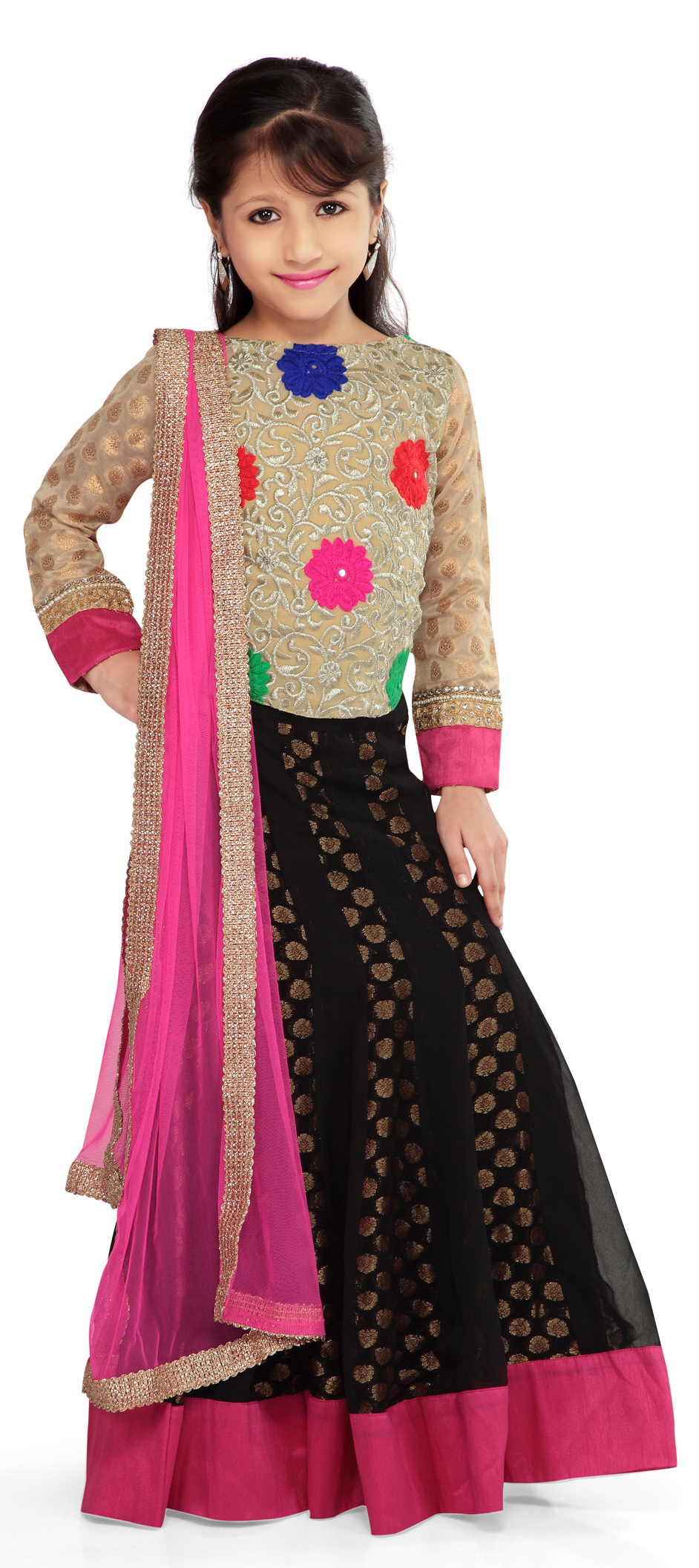 200562 black and grey beige and brown color family kids lehenga