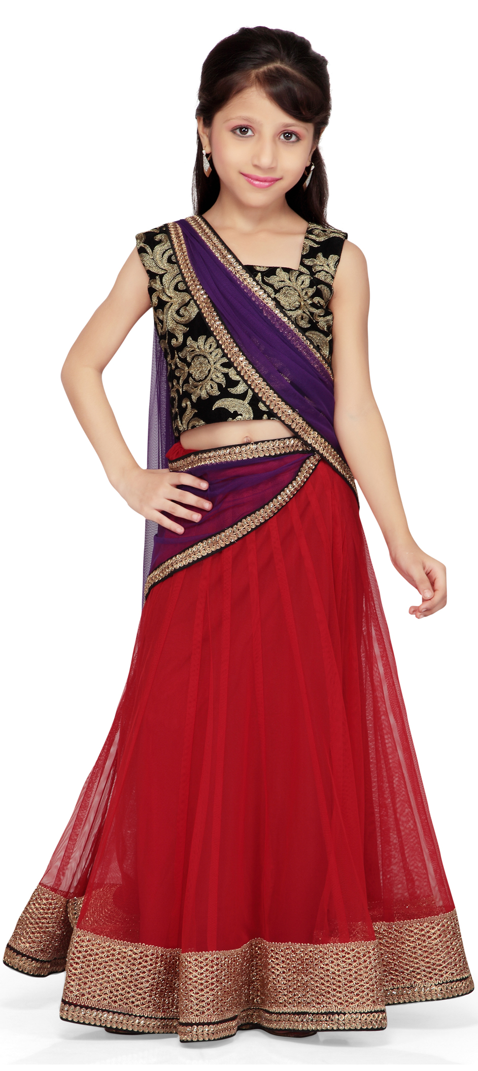 200572 black and grey red and maroon color family kids lehenga