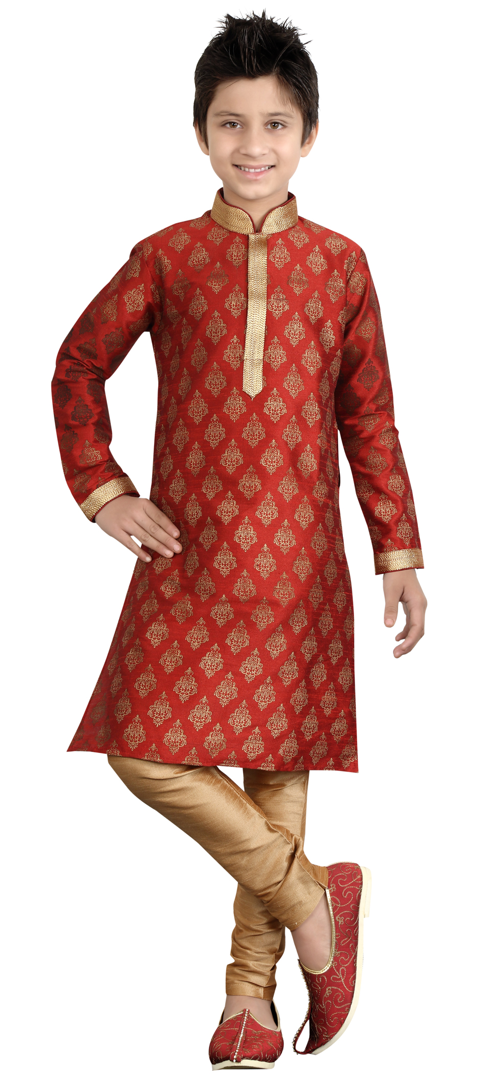 201887: Red and Maroon color family stitched Boy Kurta ...