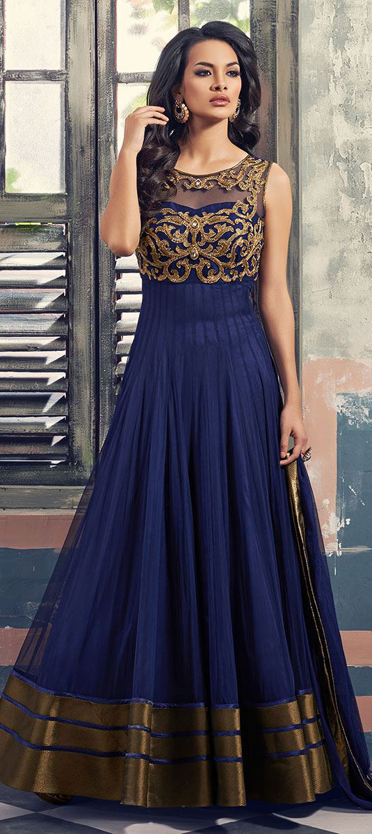 447587 blue color family stitched gown for Wedding dress material online