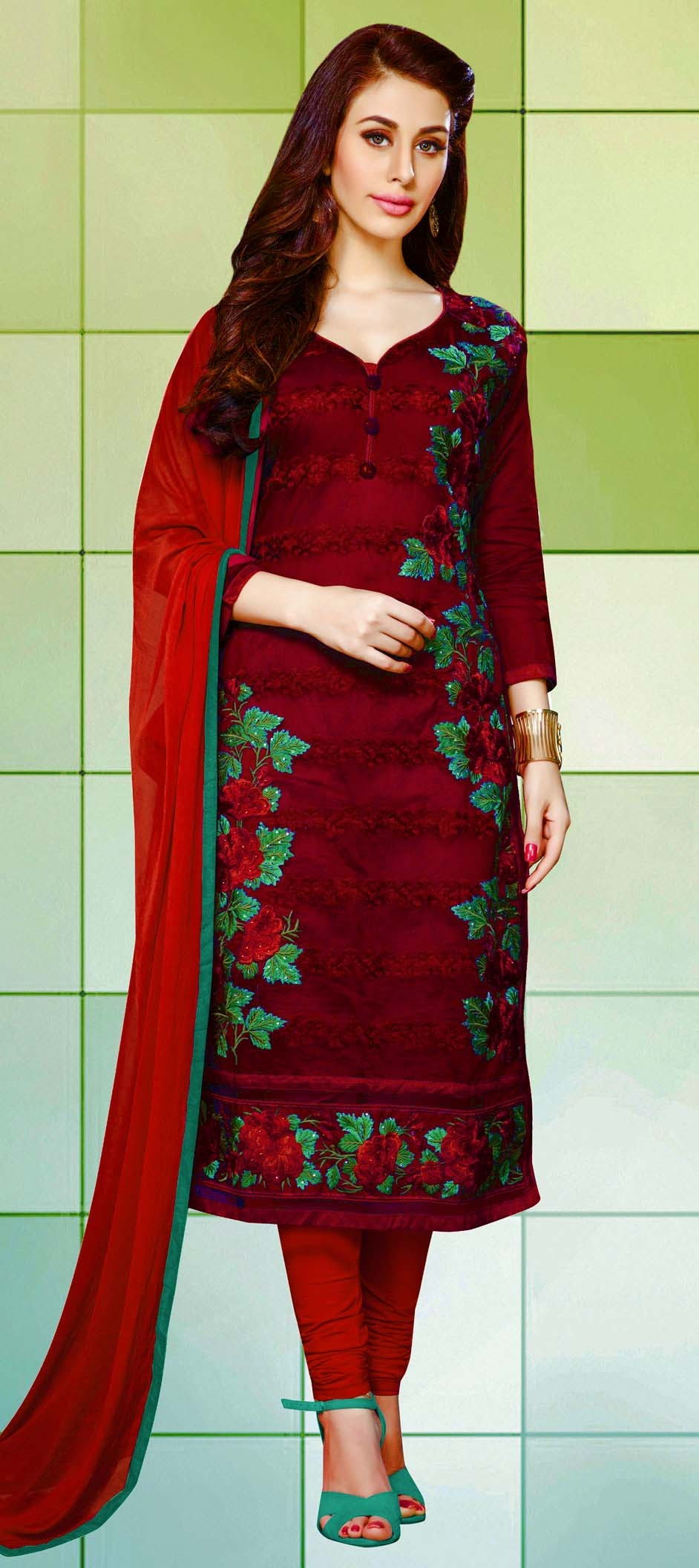 459838: Red and Maroon color family unstitched Cotton Salwar Kameez ...