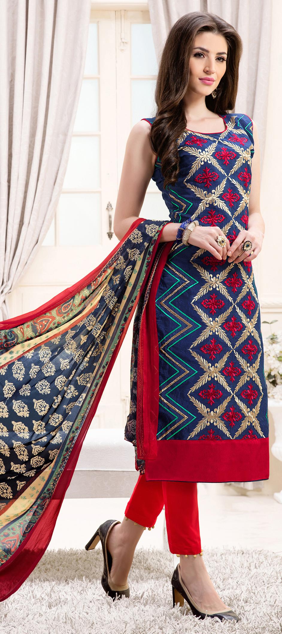 466904: Blue color family semi-stiched Party Wear Salwar Kameez .