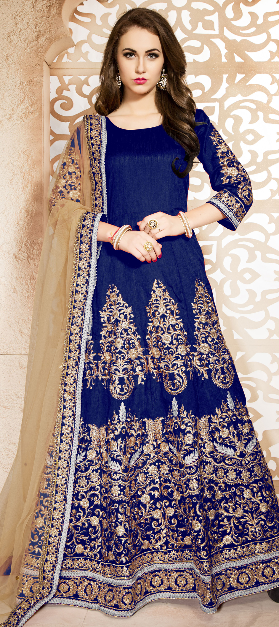 470441 Blue Color Family Stitched Anarkali Suits