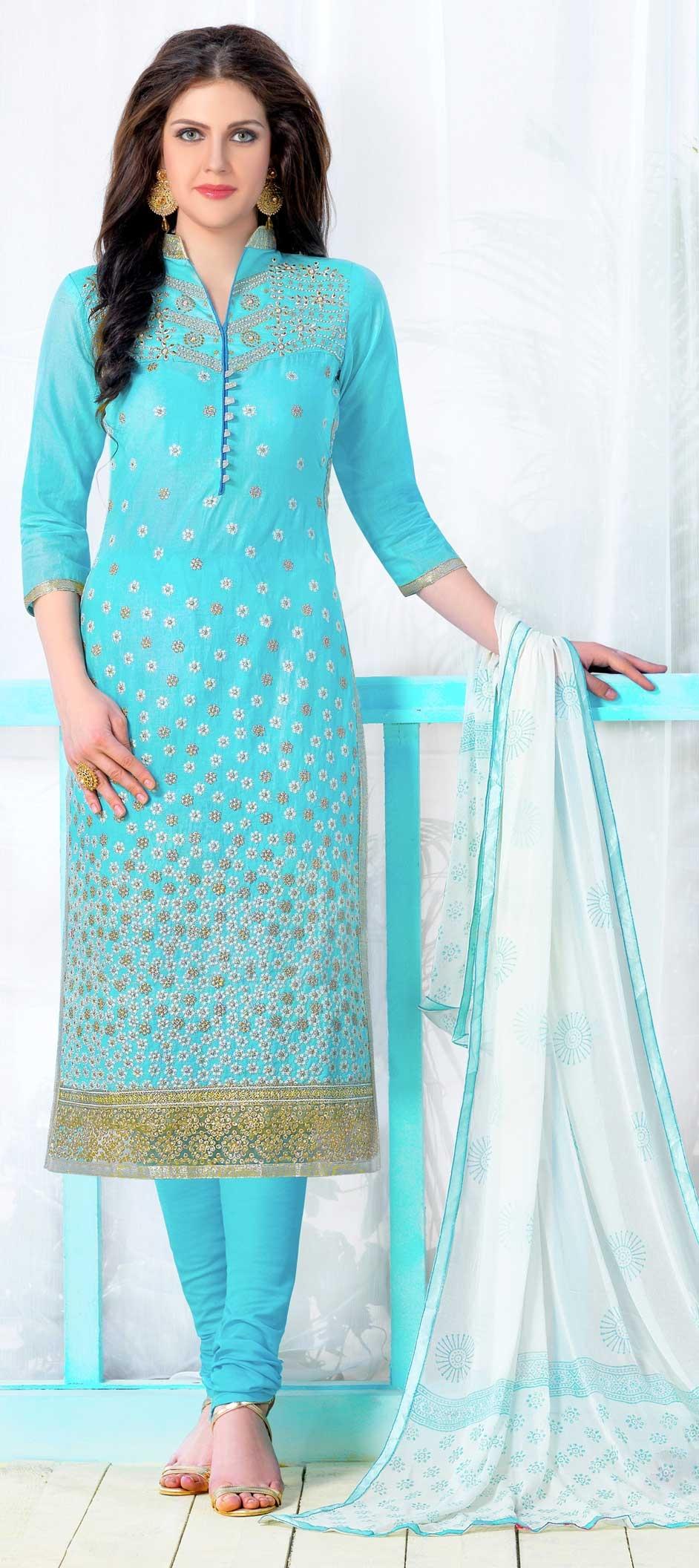 471351 Blue Color Family Stitched Cotton Salwar Kameez
