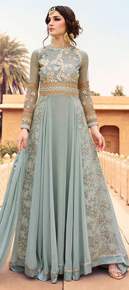 475459 Black And Grey Color Family Stitched Anarkali Suits