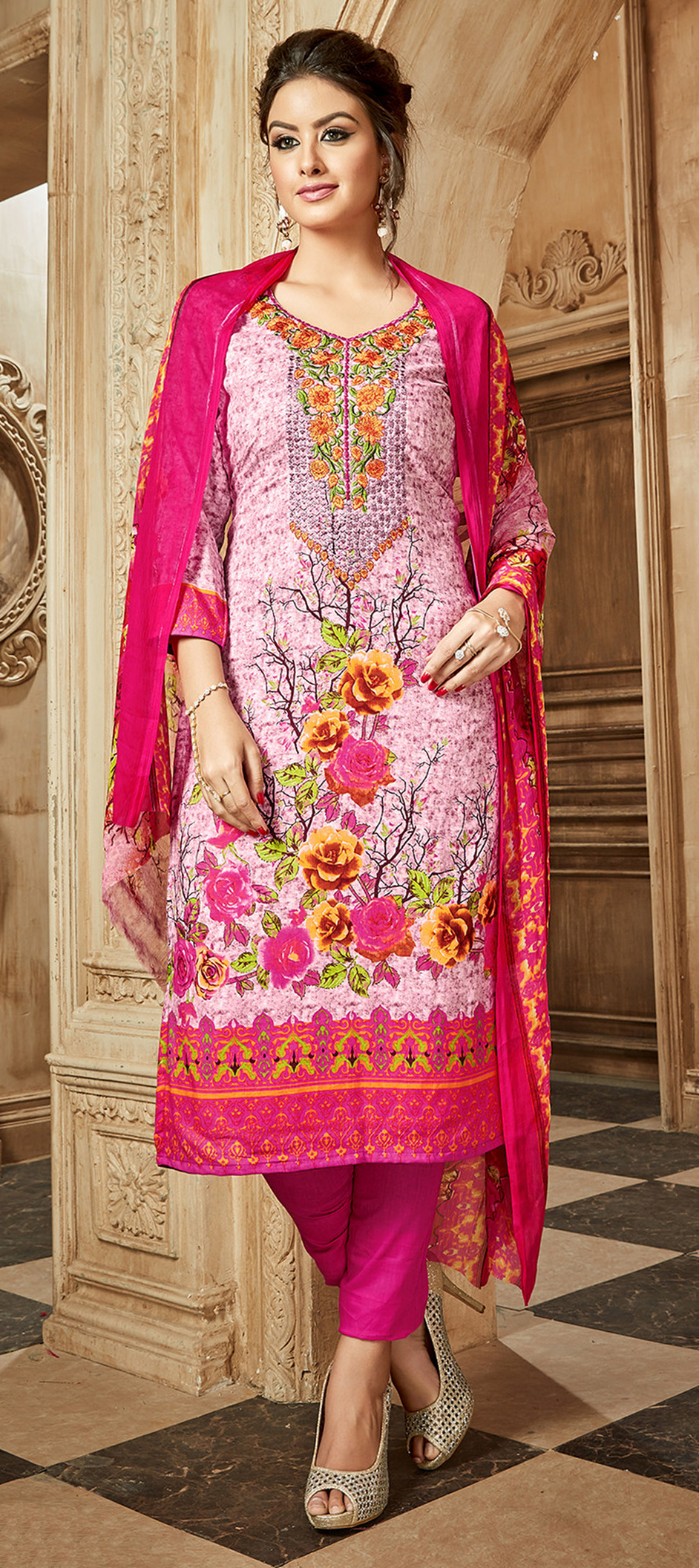 497668: Pink and Majenta color family unstitched Party Wear Salwar ...