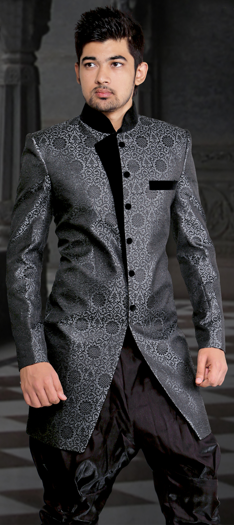 500996: Black and Grey color family stitched IndoWestern Dress .
