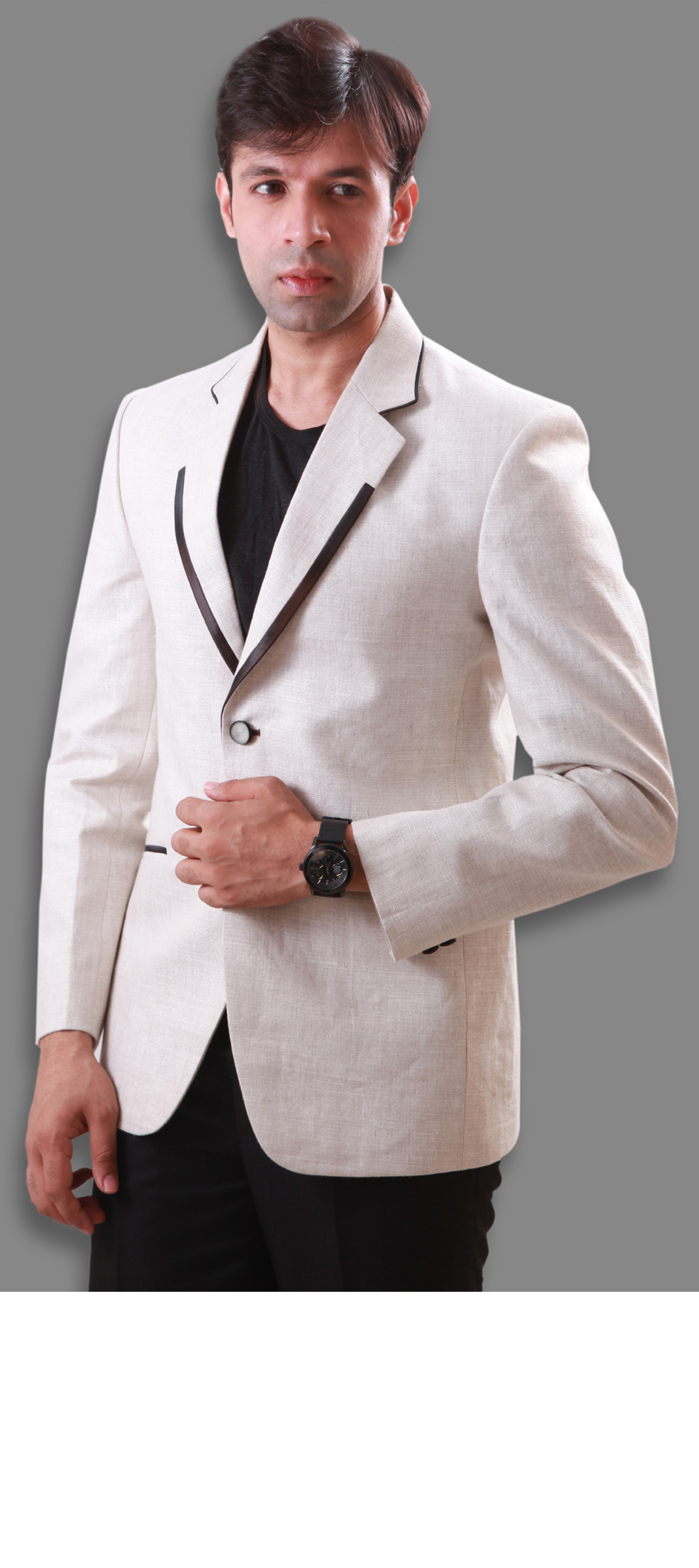 502651 White And Off White Color Cotton Linen Fabric Blazer