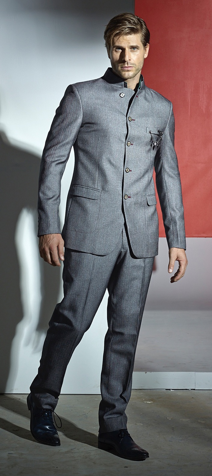 502789: Black and Grey color family stitched Jodhpuri Suit .