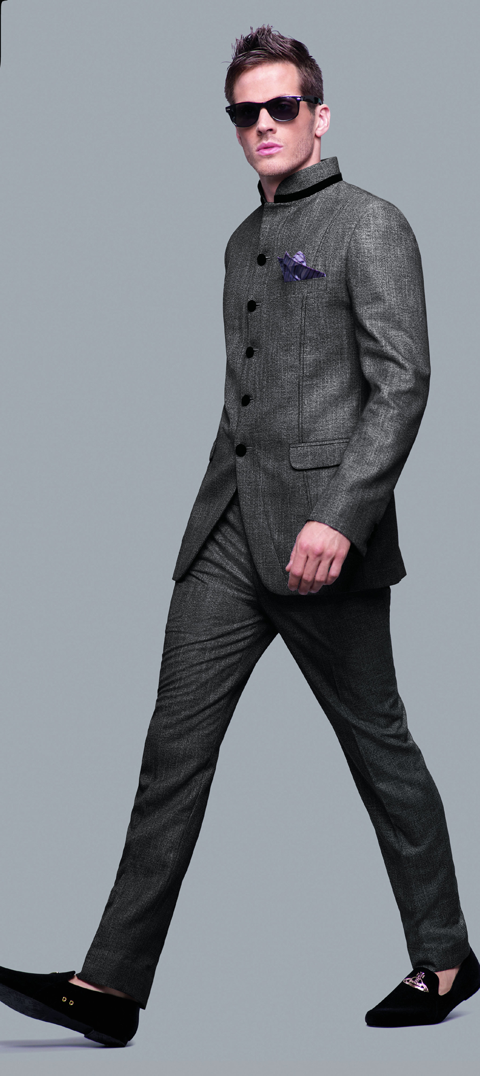 502813: Black and Grey color family stitched Jodhpuri Suit .