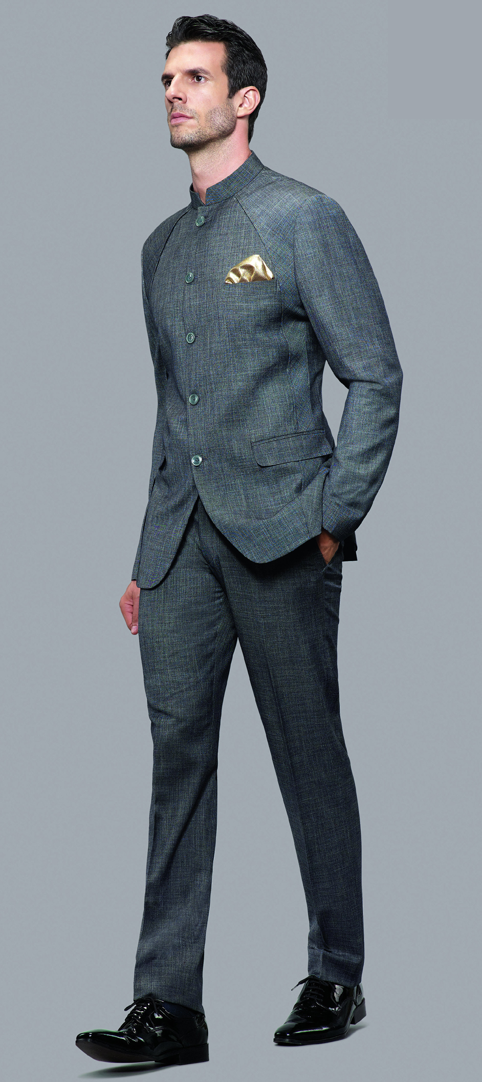 502816: Black and Grey color family stitched Jodhpuri Suit .
