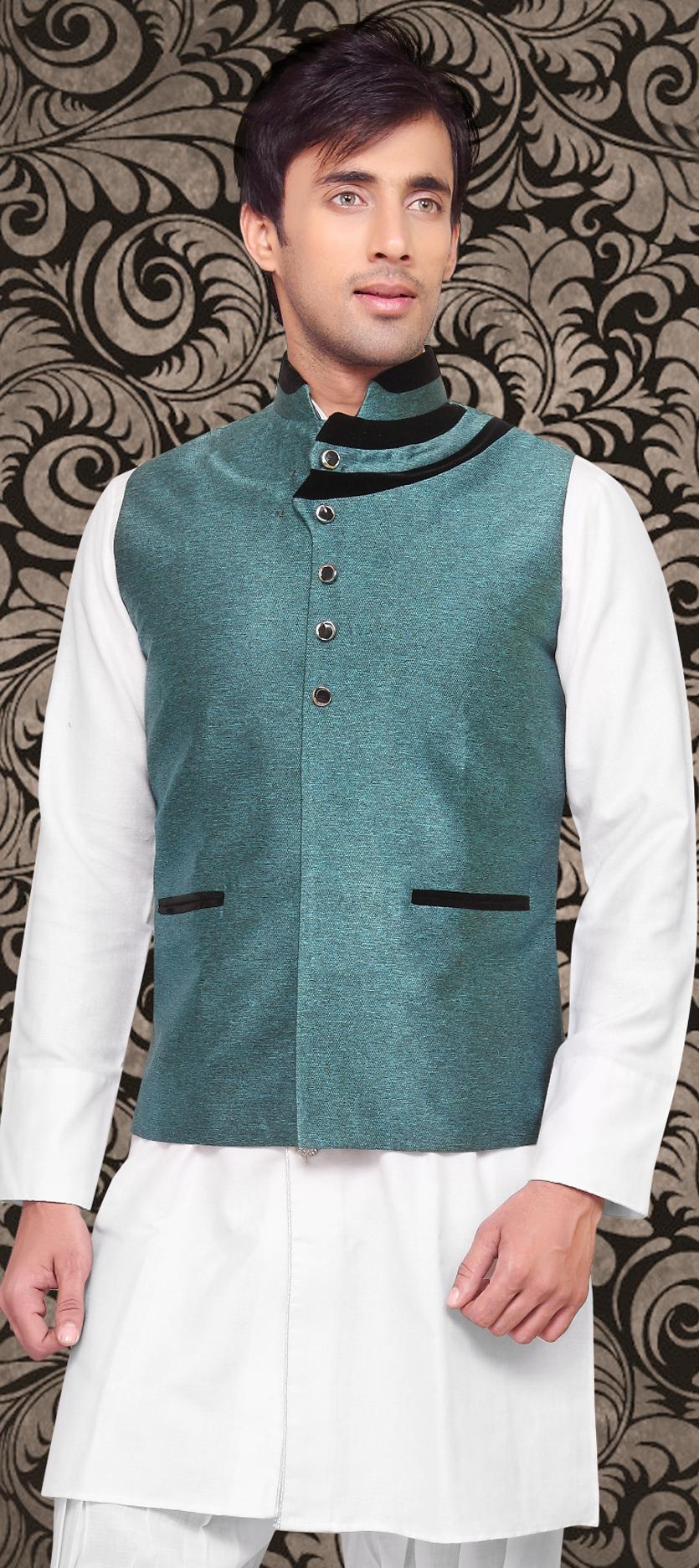 502972: Blue color family stitched Nehru jacket .