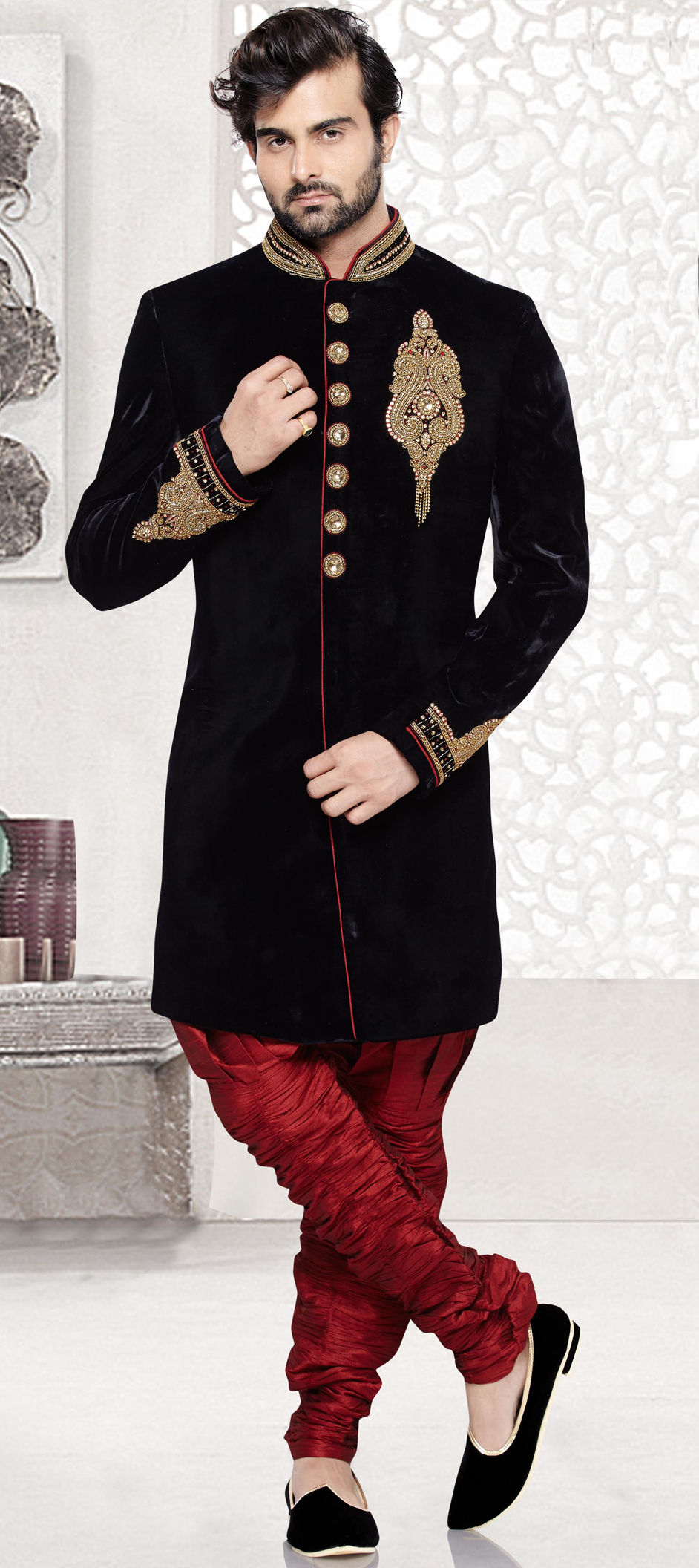 503843: Black and Grey color family stitched IndoWestern Dress .