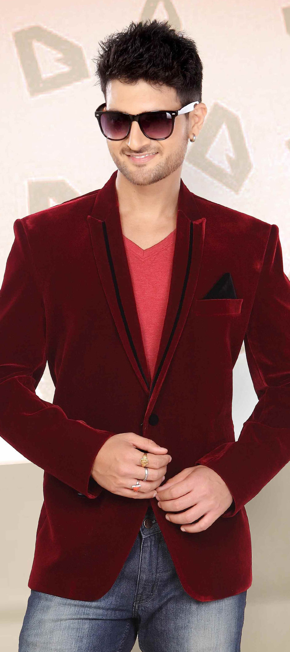 503919: Red and Maroon color family stitched Blazer .