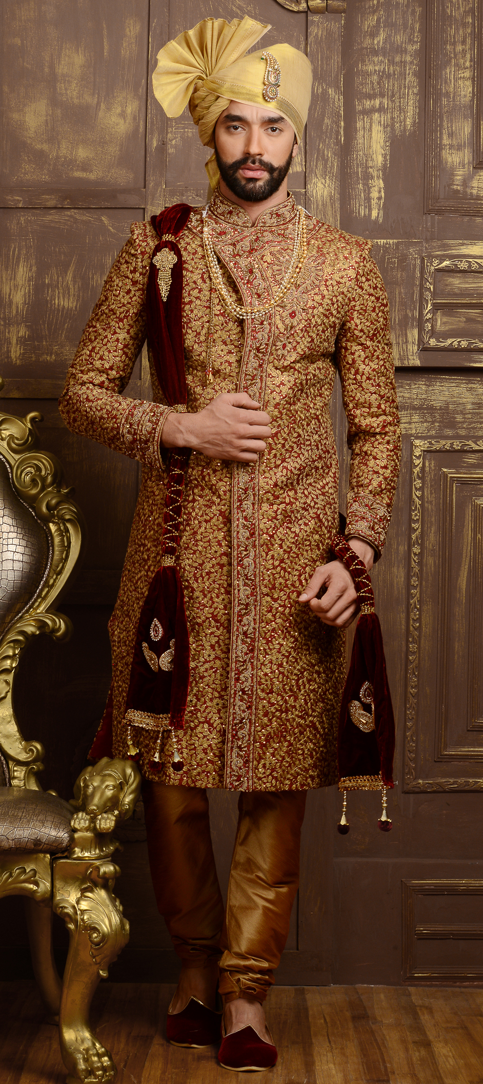505834 Red And Maroon Color Family Stitched Sherwani