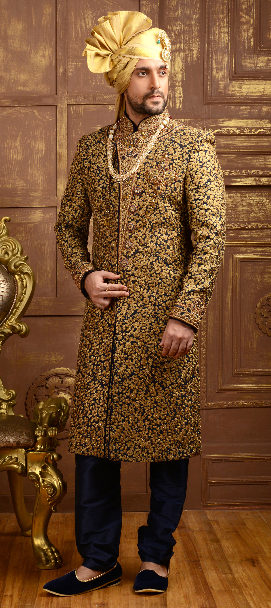 505835 Blue Color Family Stitched Sherwani