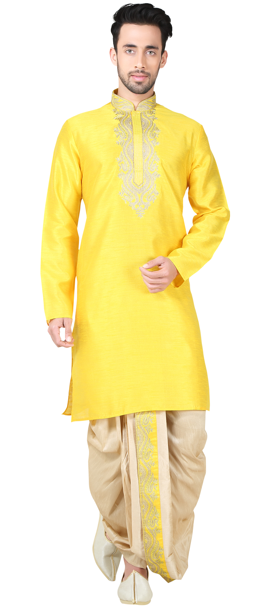 Hat Embroidery Machine For Sale >> 505919: Yellow color family stitched Dhoti Kurta