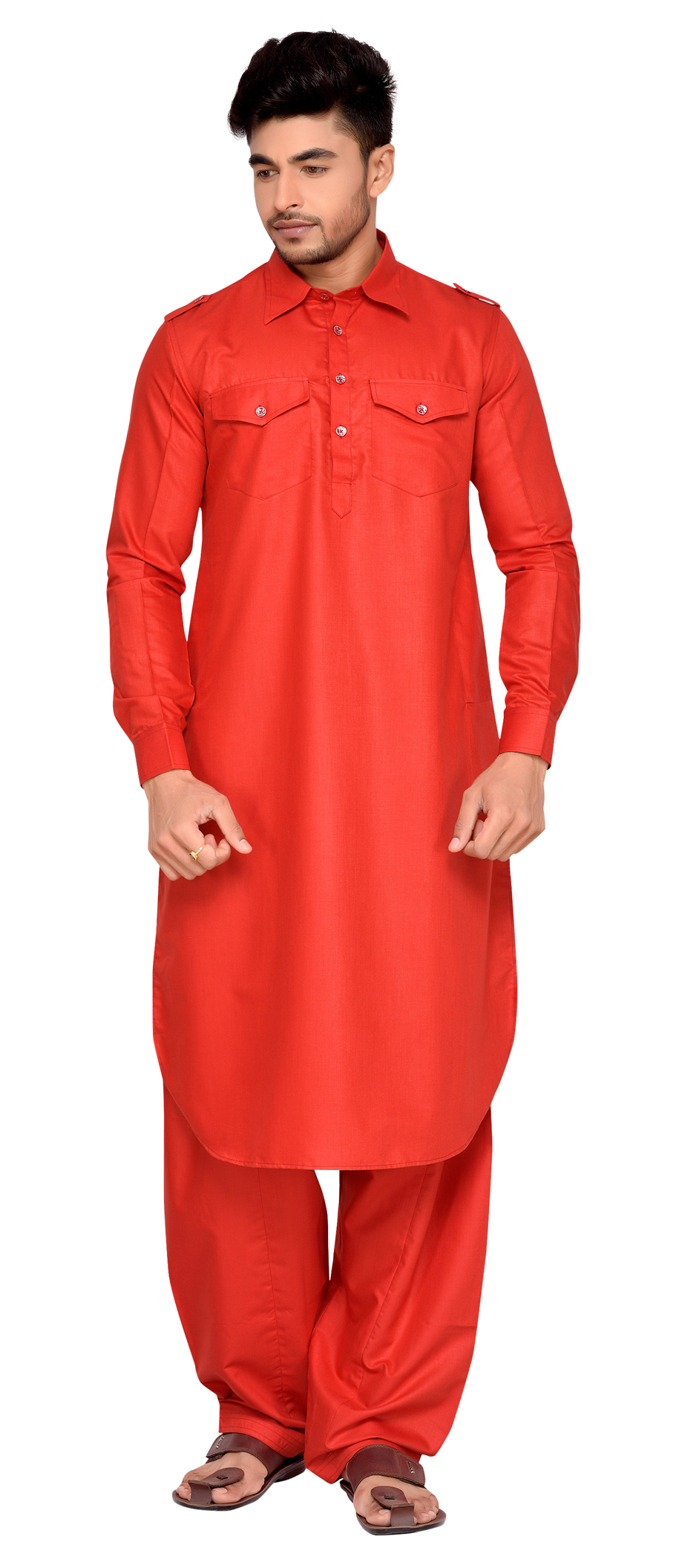 507048: Red and Maroon color family stitched Pathani Suit .