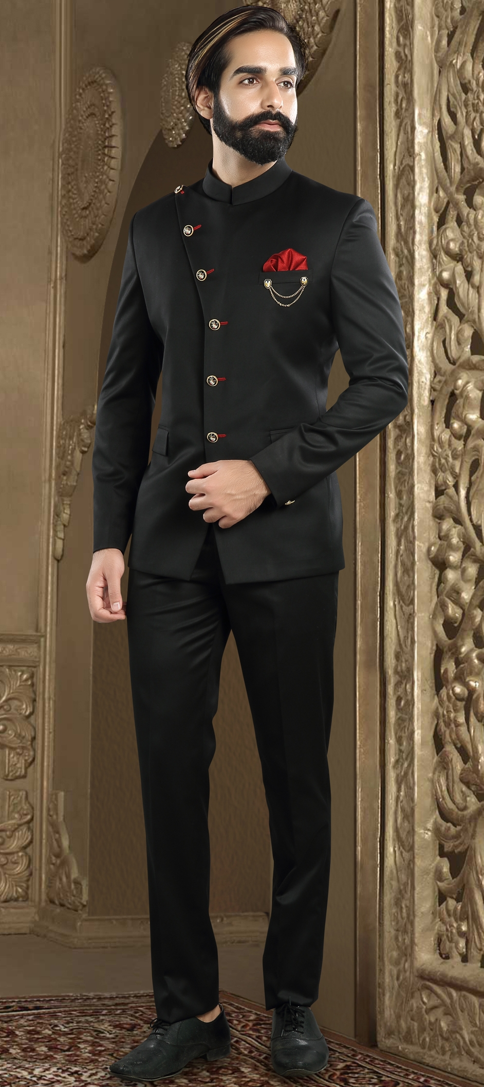 507759 Black And Grey Color Brocade Fabric Jodhpuri Suit