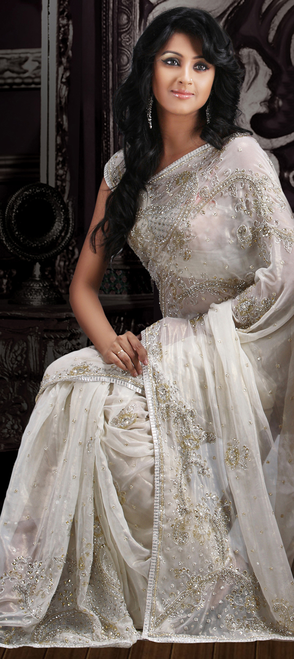 62048White And Off White Color Family Saree With Matching - White Indian Wedding Dress