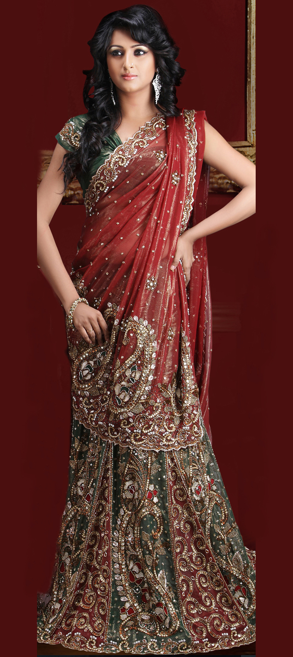 62084:Green,Red and Maroon color family Saree with matching ...