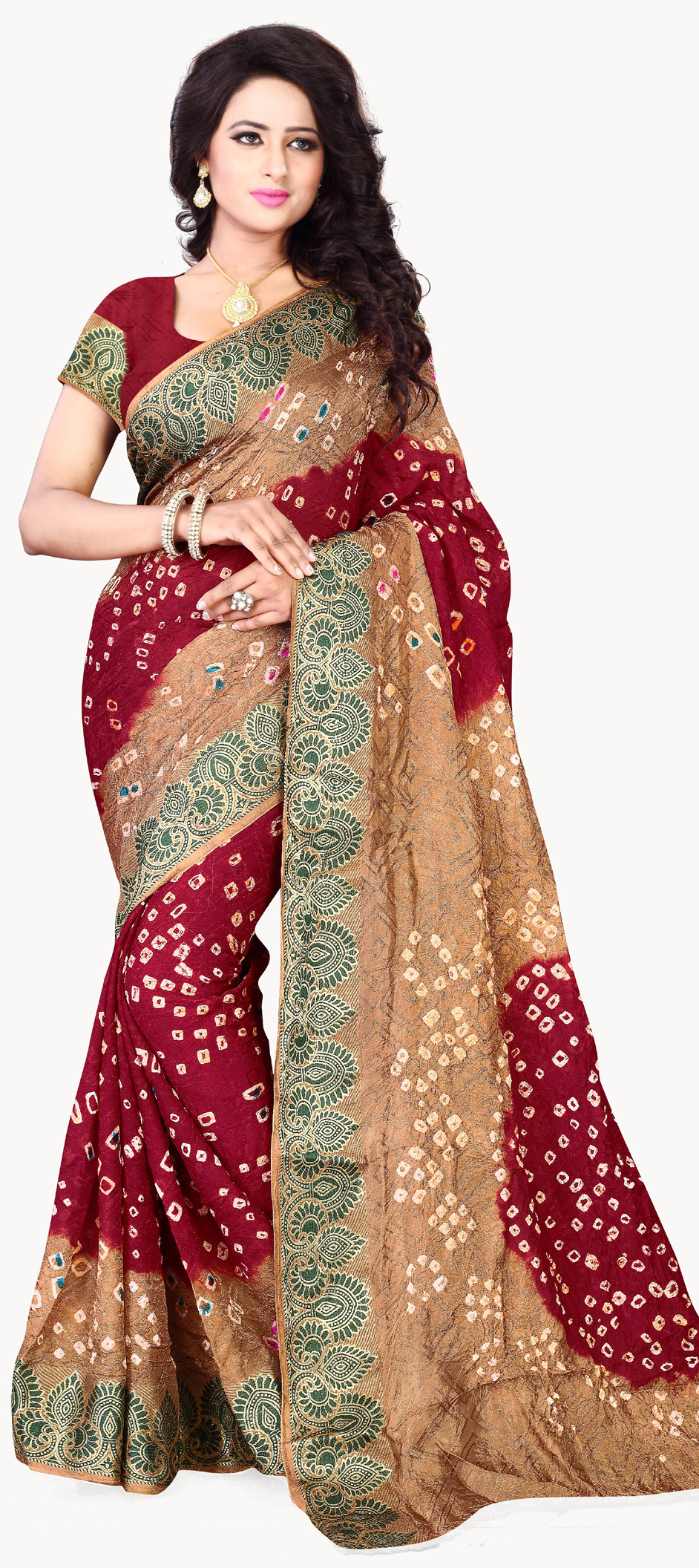 708701: Beige and Brown, Red and Maroon color family Bandhej Sarees ...