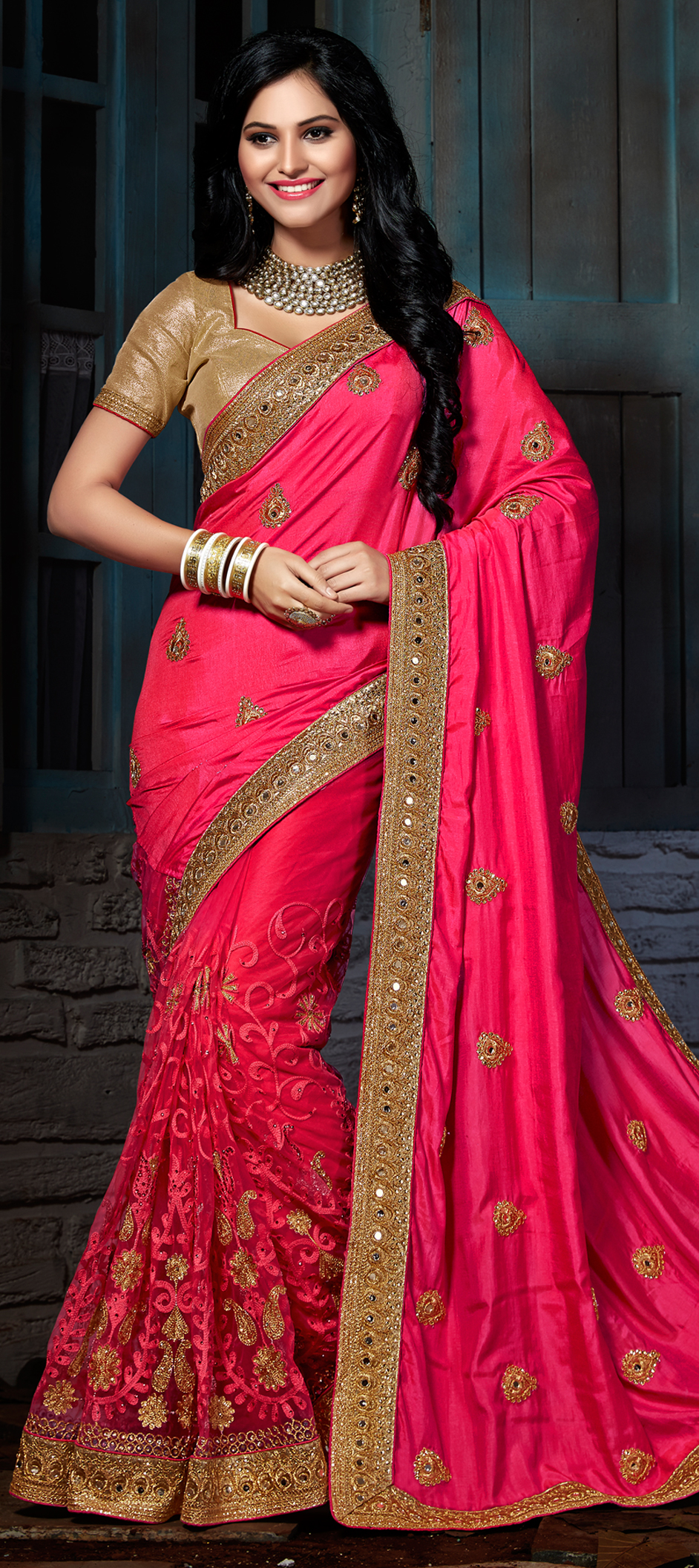 709814: Pink and Majenta color family Embroidered Sarees,Party Wear ...