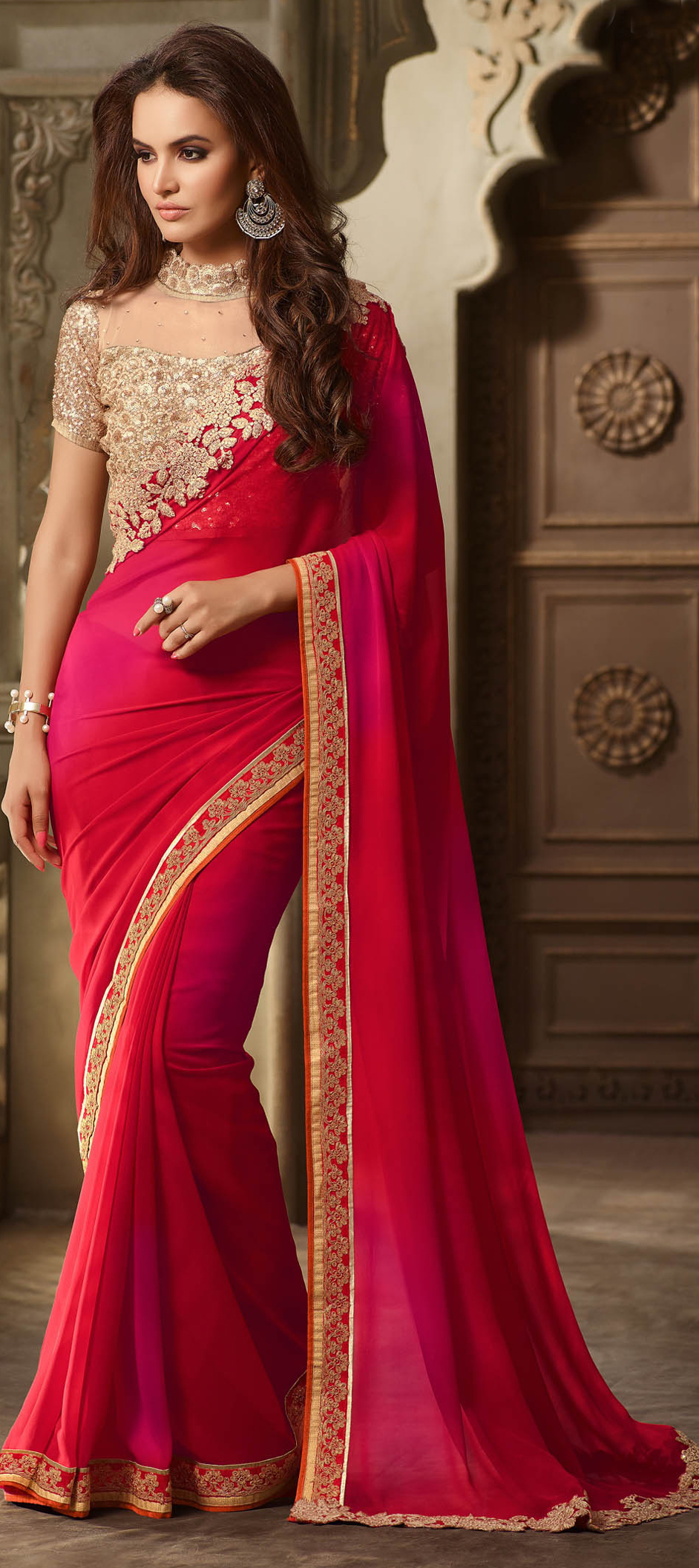 709849 Pink And Majenta Color Family Embroidered Sarees