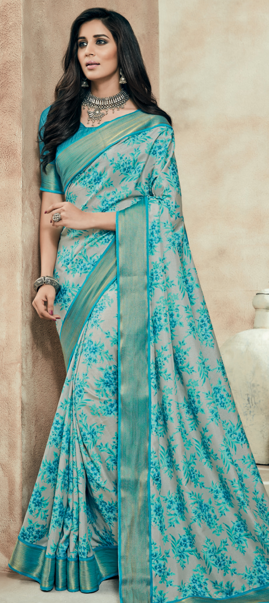 712030: Beige and Brown, Green color family Printed Sarees, Silk ...