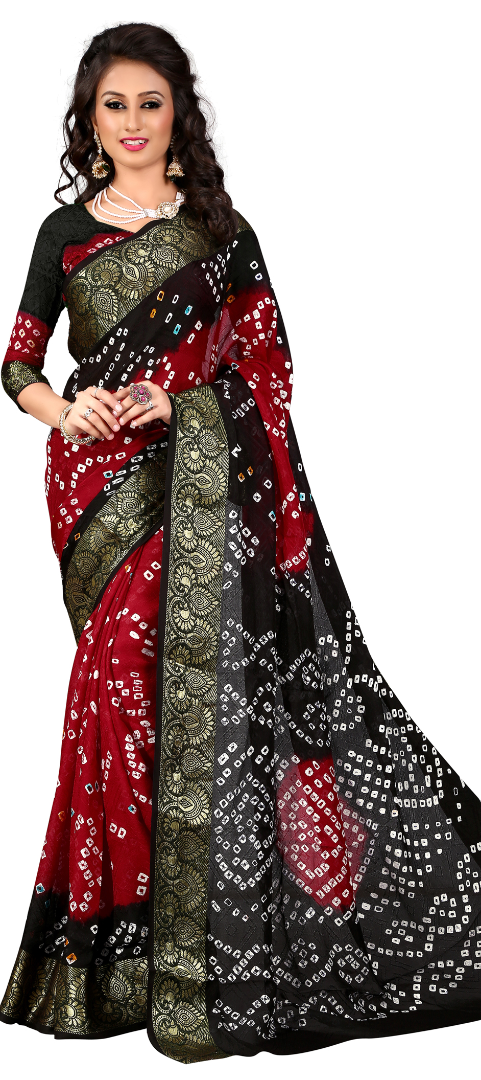 712818: Black and Grey, Red and Maroon color family Bandhej Sarees ...