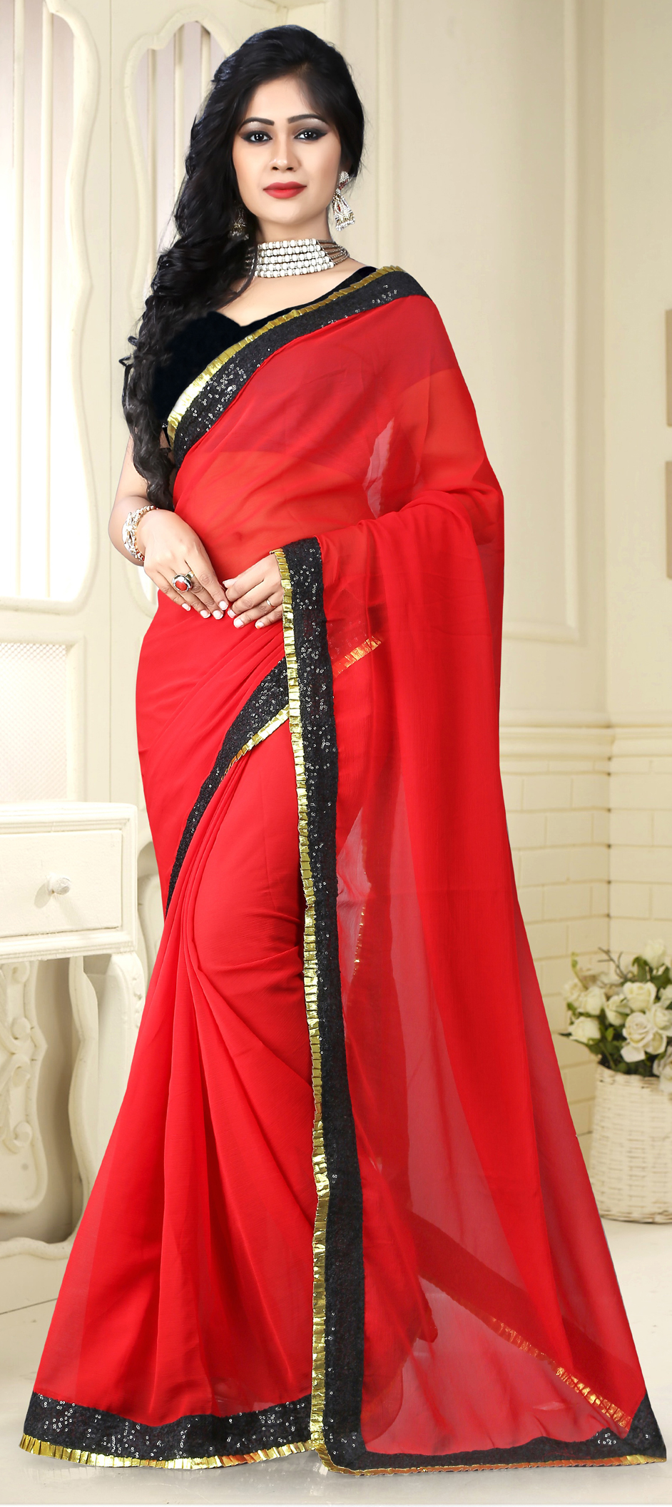 724281: Red and Maroon color family Party Wear Sarees with matching ...