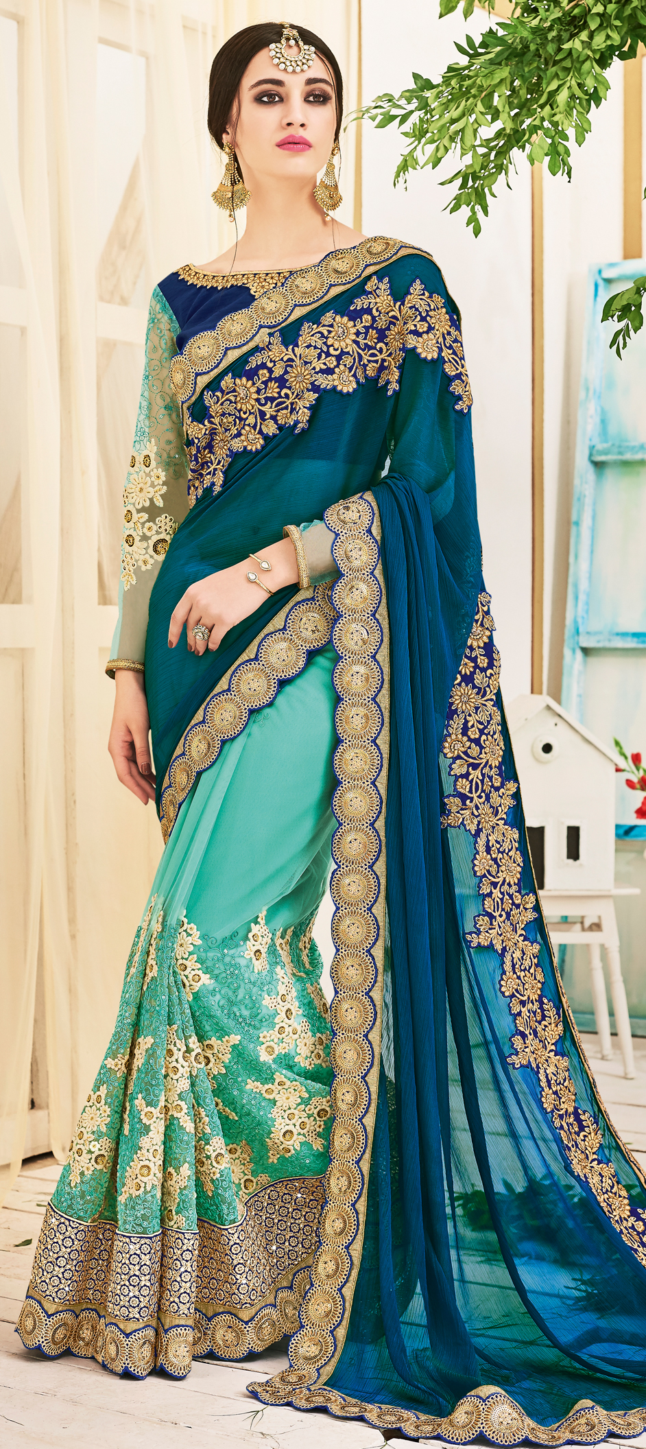 725031 Blue Color Family Embroidered Sarees Party Wear