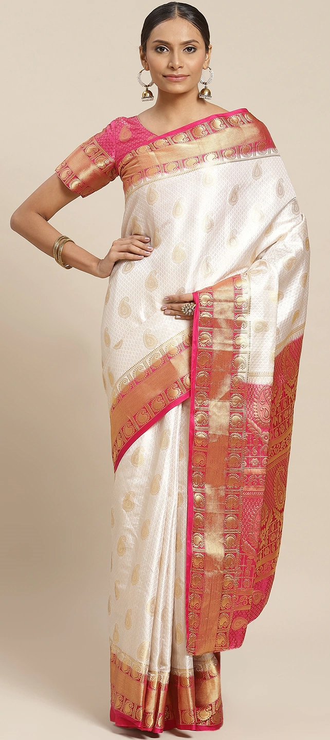 733339 White And Off White Color Family Party Wear Sarees