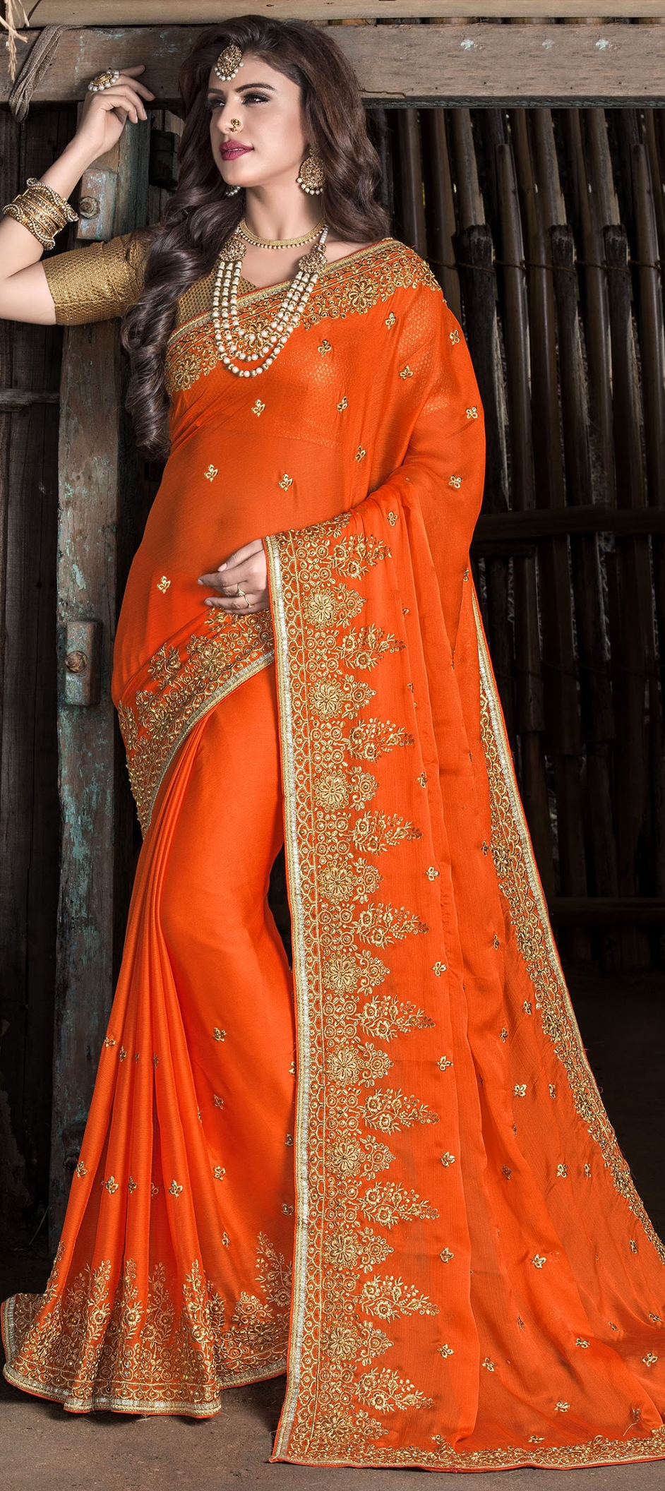 739021: Orange color family Embroidered Sarees, Party Wear Sarees ...