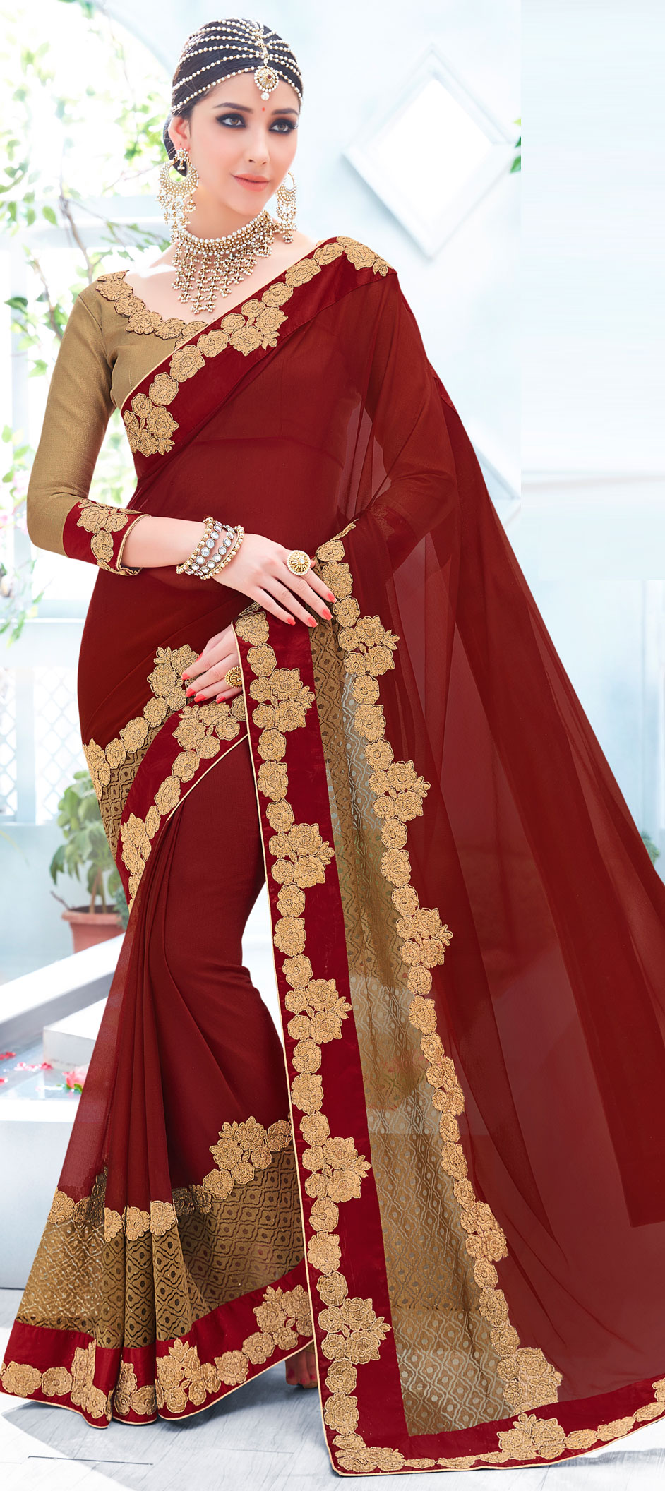741725: Red and Maroon color family Embroidered Sarees, Party Wear ...