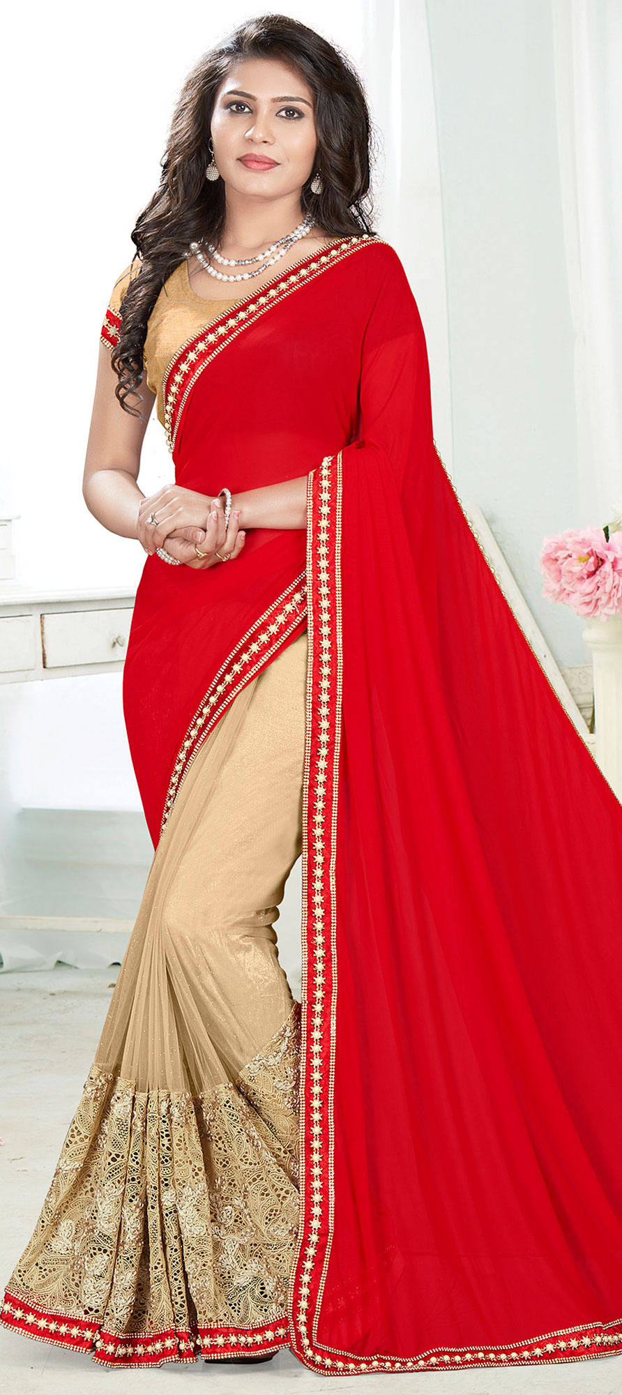 742082: Gold, Red and Maroon color family Embroidered Sarees, Party ...