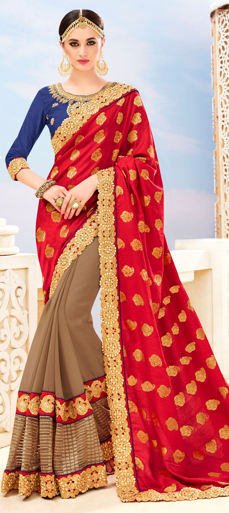 747245: Beige and Brown, Red and Maroon color family Embroidered ...
