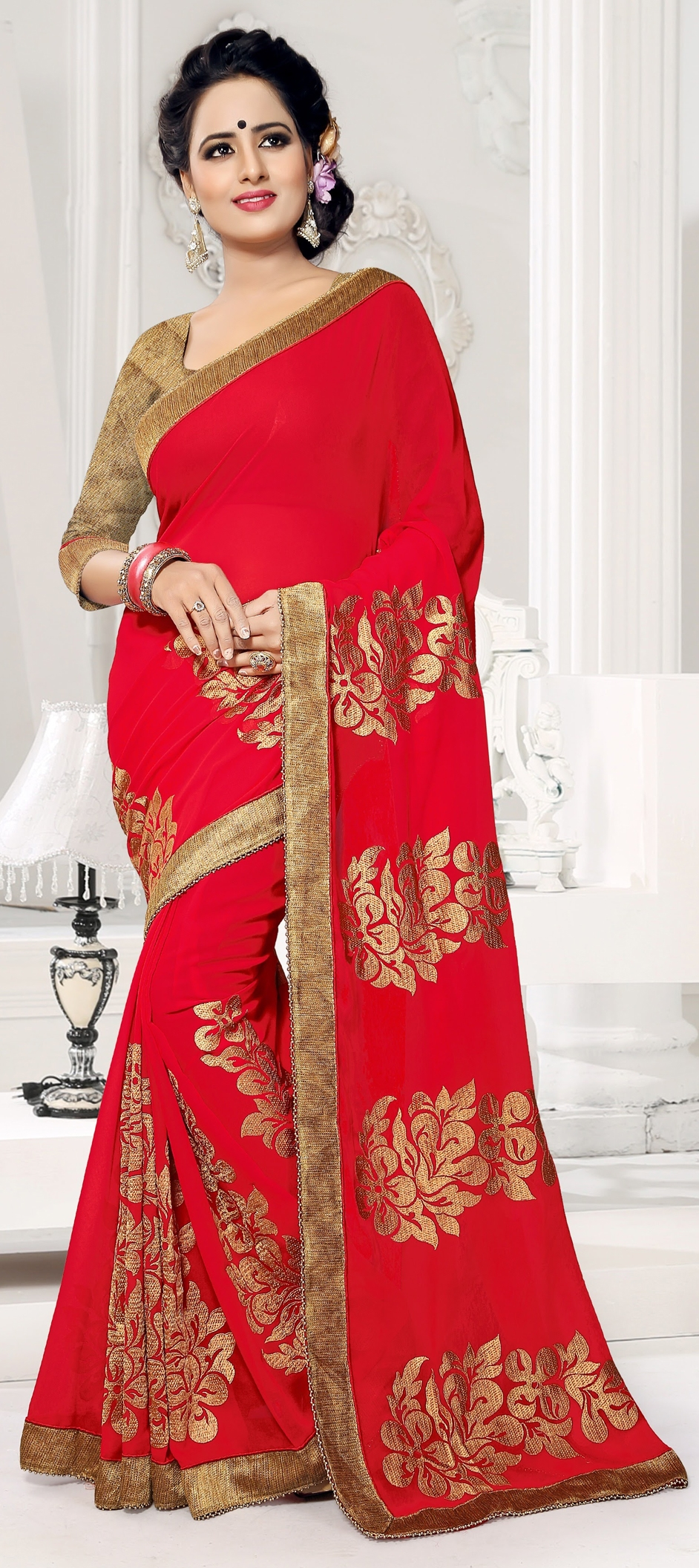 752354: Red and Maroon color family Embroidered Sarees, Party Wear ...