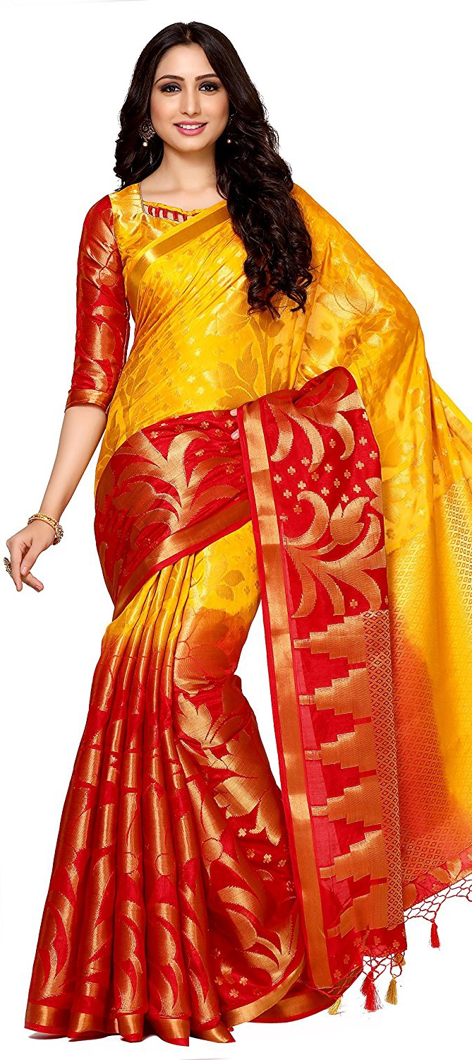 753322: Red and Maroon,Yellow color family Party Wear Sarees,Silk ...