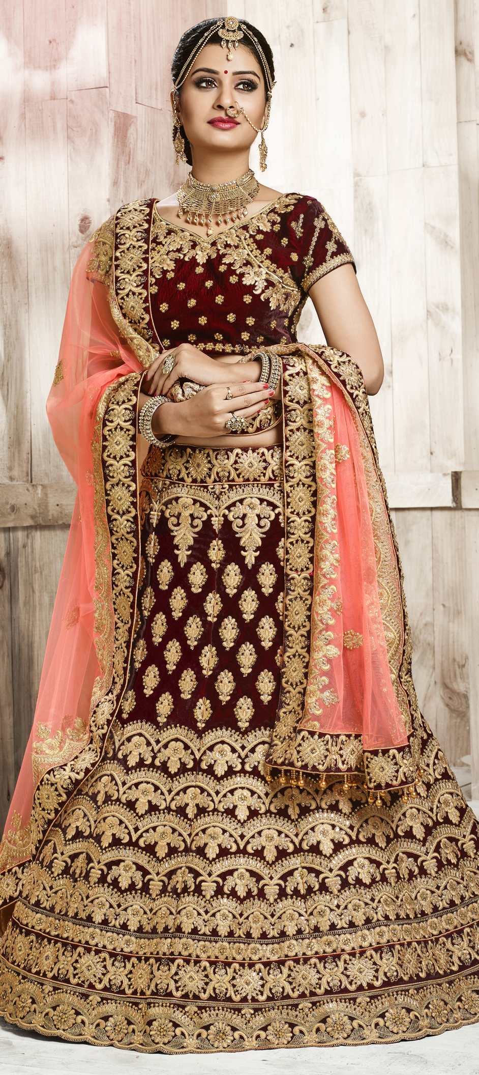 755929 Red And Maroon Color Family Bridal Lehenga