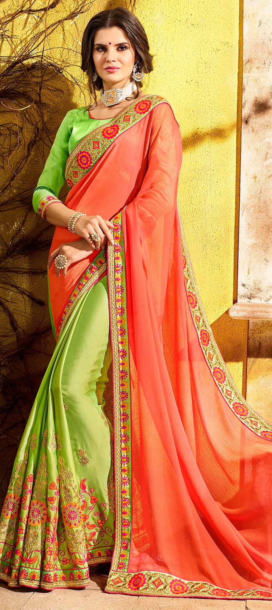 757928: Green, Orange color family Embroidered Sarees, Party Wear ...