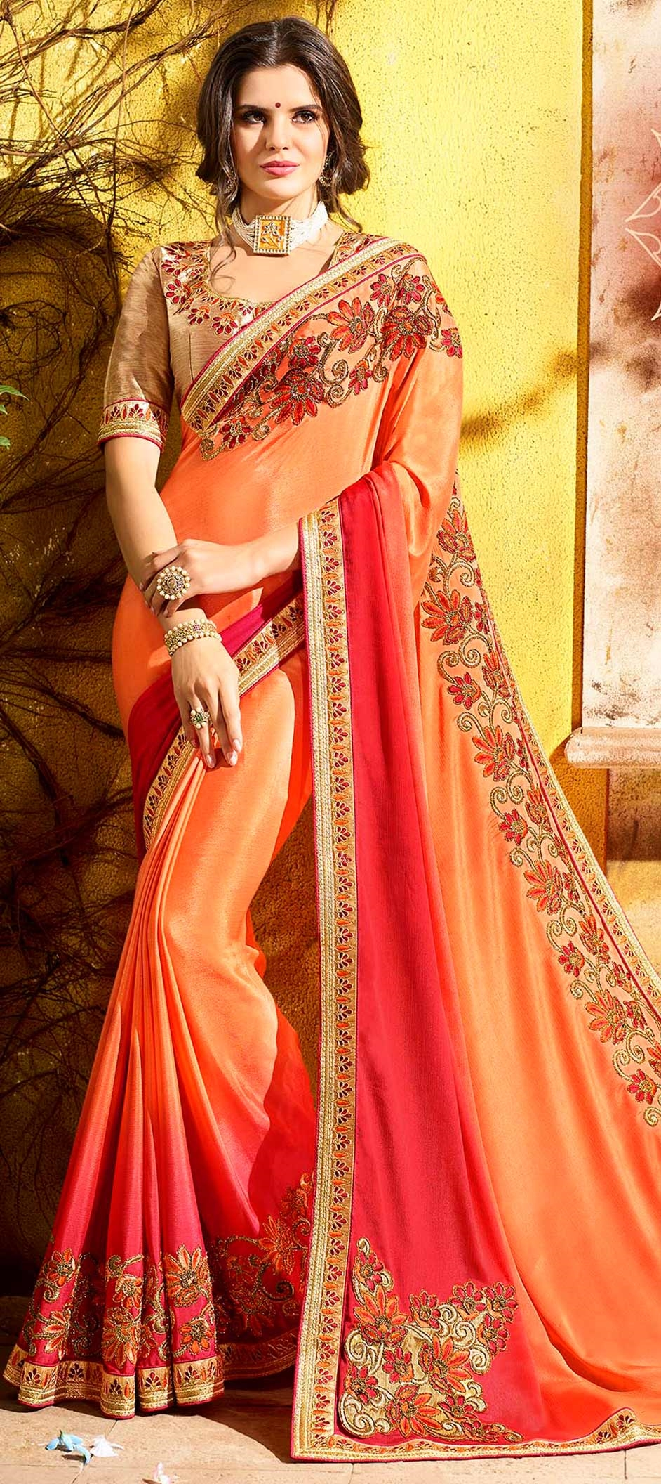 757934: Orange color family Embroidered Sarees, Party Wear Sarees ...