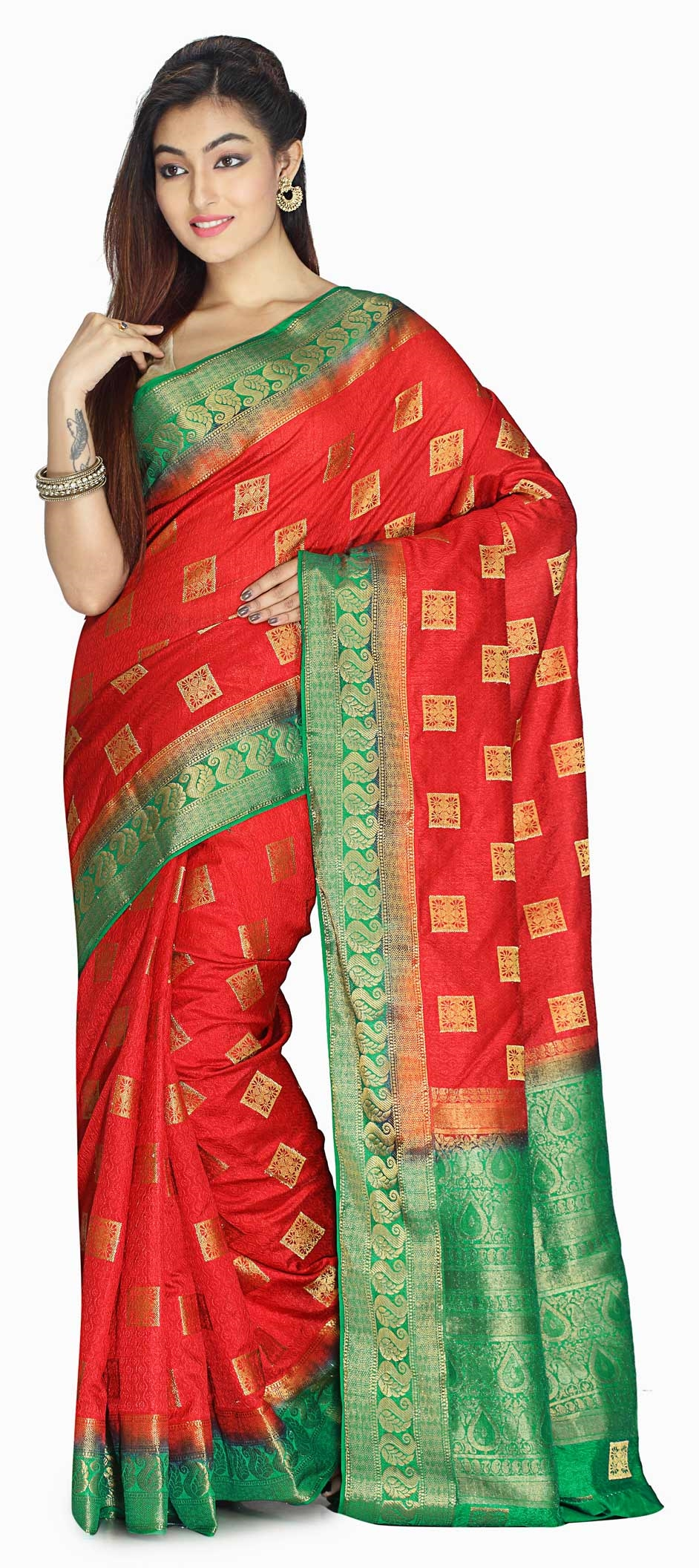 758428: Red and Maroon color family Party Wear Sarees with matching ...