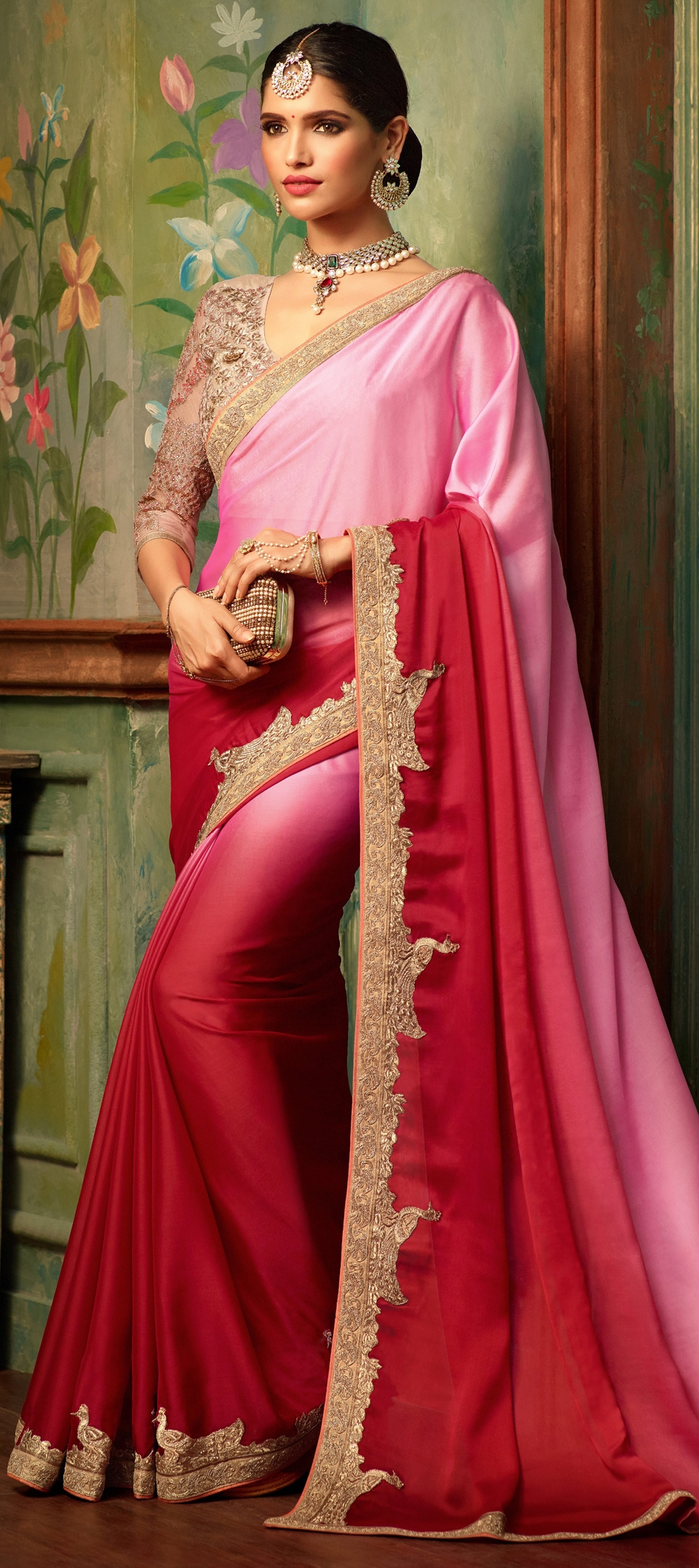 760222: Pink and Majenta, Red and Maroon color family Party Wear ...