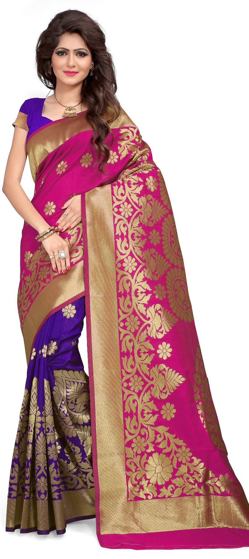 763983: Pink and Majenta, Purple and Violet color family Silk Sarees ...