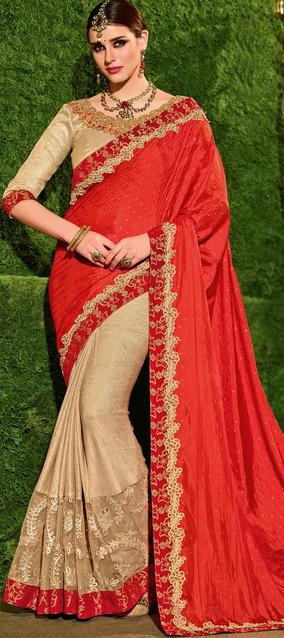767934: Beige and Brown, Orange color family Embroidered Sarees ...
