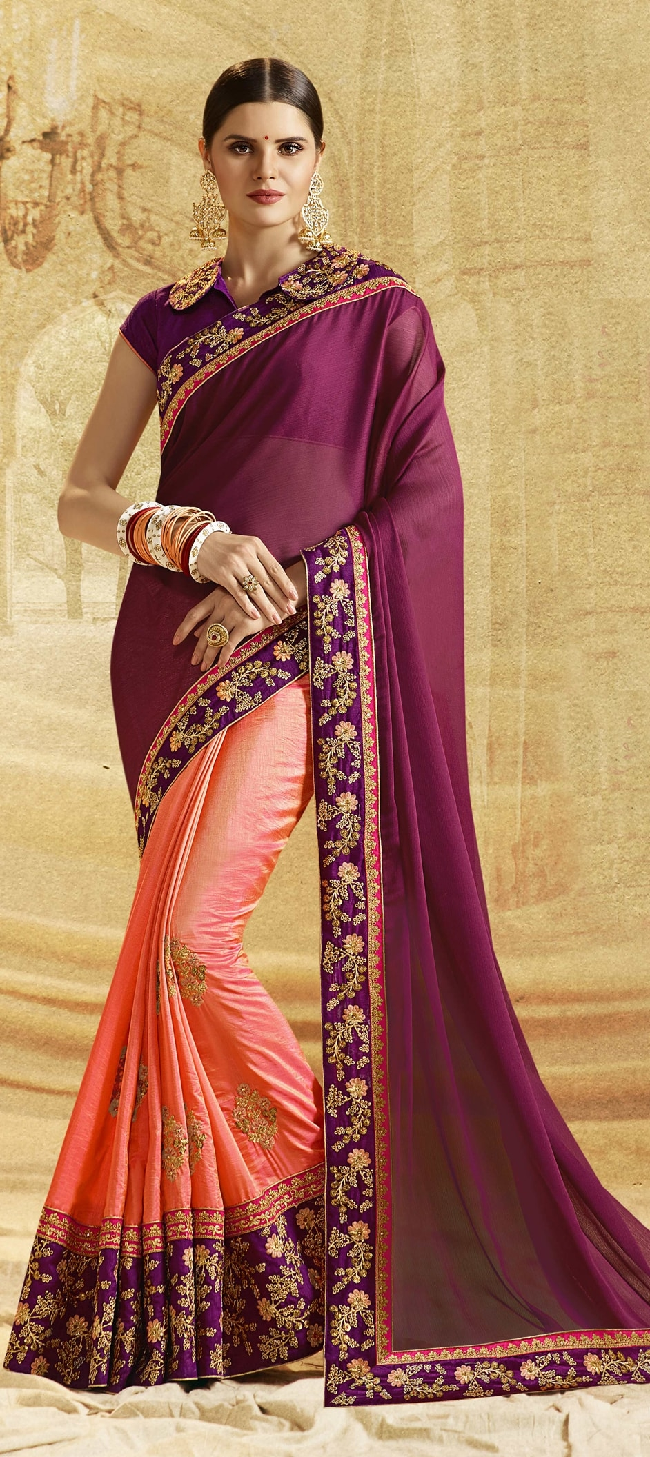 768220: Orange, Purple and Violet color family Embroidered Sarees ...