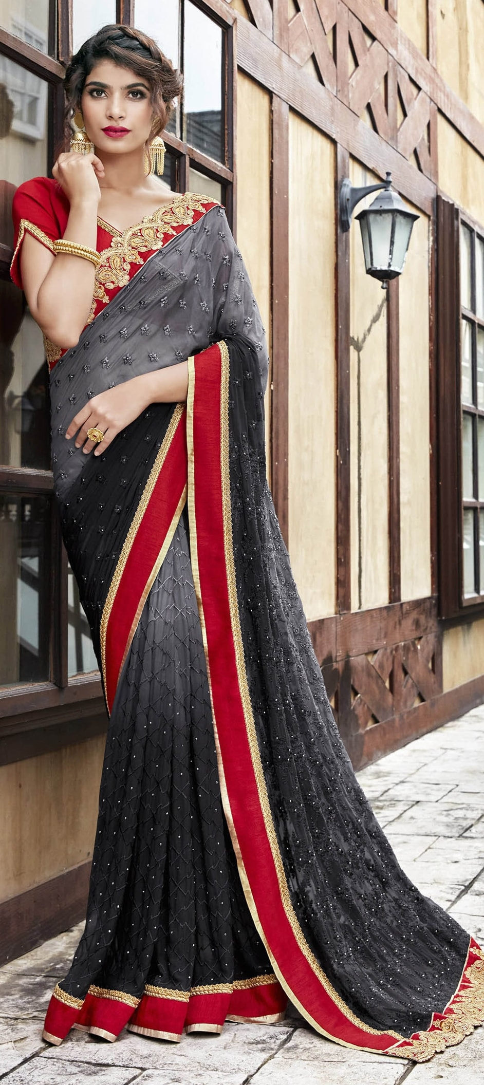 768529: Black and Grey color family Embroidered Sarees, Party Wear ...